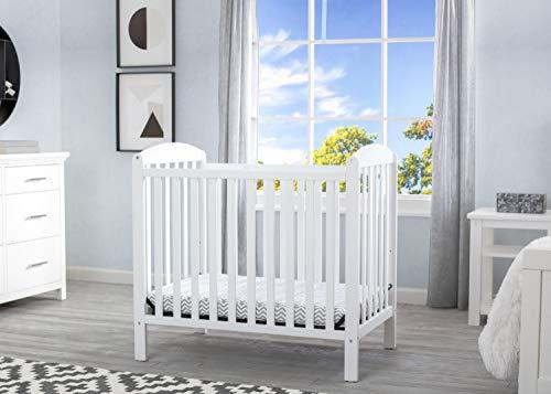 Product Image 2: Delta Children Emery Mini Convertible Baby Crib with 2.75-inch Mattress, Bianca White