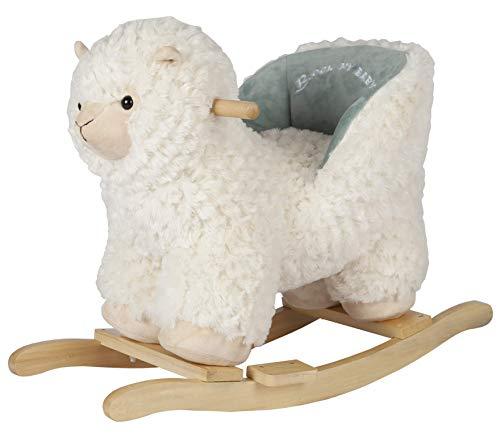 Rock My Baby Schaukelpferd Holz, Schaukeltier Creme Lama, Schaukelpferd Plüsch, Spielzeug Schaukelpferd Lama für Baby 1-3 Jahre Alt, Schaukel Baby, Kinder Schaukelstuhl, Lama für Babys und Kleinkinder
