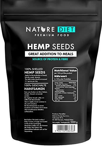 Nature Diet - Semillas de cáñamo 1000g | Sin cáscara | Hulled | Sin Gluten | Vegano