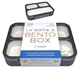 Bento Box For Adults Leak-proof | Lunch-boxes Bento-boxes for Kids Boys Girls Teens with 3 Compartment | Slim Container For Work And School | Eco-friendly Divided Containers, Grey - Black