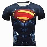 COJETER Super Man Manche Courte Compression Sport Faire des Exercices Hommes Gym Aptitude Serré Super héros Tee-Shirt