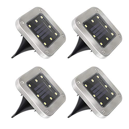 Mitening LED Luce Solari Giardino Esterno, 4 Pezzi 8 LED Lampada Solare Luce Sepolta Luci Solare...