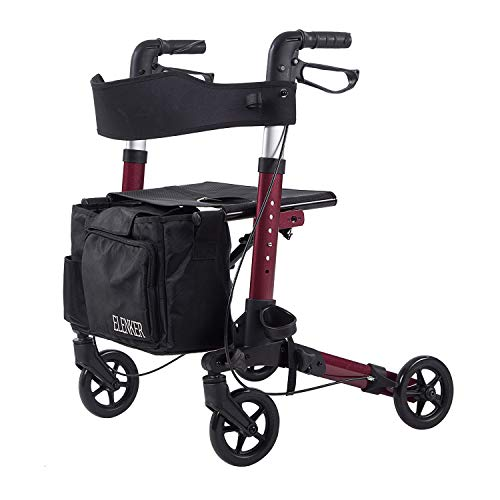 "ELENKER Lightweight Rollator Walker, Foldable Compact Stable Rolling Walker with Seat, Detachable Storage Bag, Red (fits 4'9""-5'10"")"