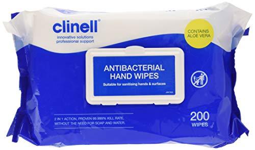 Clinell - Salviette antibatteriche per le mani, confezione da 200 salviette