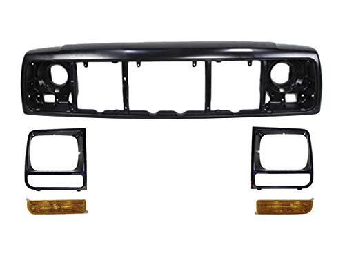 For 1997-2001 Cherokee Front Header Panel Headlight Door Blk Park Light 5Pcs CH1220115 CH2521127 CH2520127 CH2513157 CH2512157