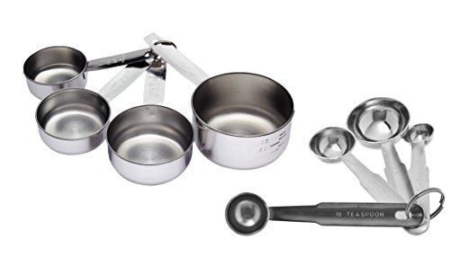 Dynore Stainless Steel Set of 4 Measuring Cup and 4 Measuring Spoon