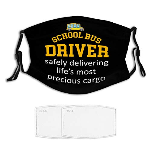 School Bus Driver Gift Face Mask 2 Filters Nose Wire...