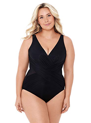 41BVEOgZ0RL Look 10 lbs. lighter in 10 seconds® with Miraclesuit. Our exclusive Miratex® fabric slims and slenderizes without panels or linings for total full body shaping & control. Miratex® fabric provides all over body control, shaping and slimming your figure with over twice the shaping power of regular Lycra. V-neckline with soft cups offer subtle shaping. Mesh insets add style and breathability. Cleverly draped fabric helps camouflage excess pounds in your midsection, elongating your waistline and making you look instantly taller and thinner.
