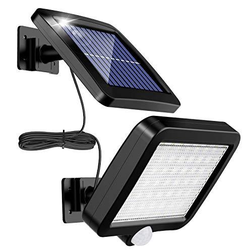 Lampade solari per esterni, MPJ 56 LED, lampada solare per esterni, con sensore di movimento, IP65, impermeabile, angolo di illuminazione di 120, lampada solare da parete per giardino con cavo