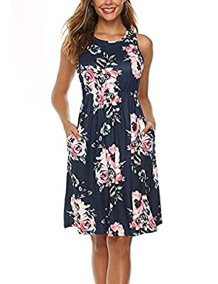 Comfortable lightweight and stretchable fabric,hidden pockets is a bonus Sundress with high waisted design let you look more slender,sleeveless racerback style is very trendy and cool in summer This boho dress looks attractive to pair with belts and ...