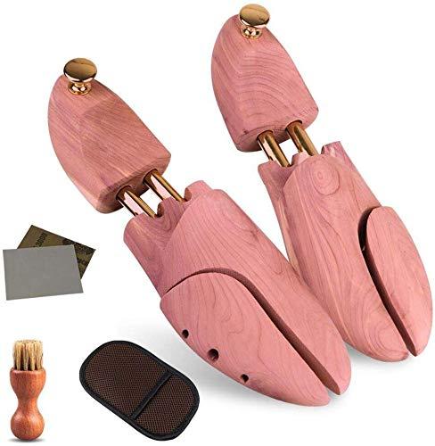 Wellnice シューキーパー シューツリー 高級レッドシダー 24.5-29cm対応 ブラシ・ムートン靴磨きクロス・サ...