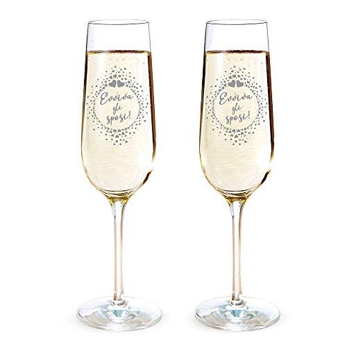 AMAVEL Set 2 Calici da Spumante con Incisione Evviva Gli Sposi!, Motivo Cuori, Bicchieri per Coppie, Flute da Champagne, Decorazioni Nozze, Accessori Casa