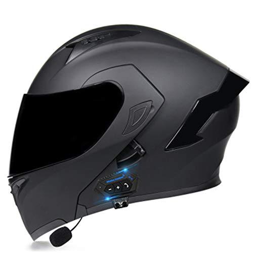 ABDOMINAL WHEEL Bluetooth Casque Moto Modulable,Flip Up Casque Moto avec Double Visière Protection de la Tête,ECE Homologué Homme Femme Casque Moto avec Fonction de Réponse Automatique H,L=57~58CM