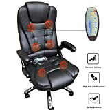 Massage High-Back PU Leather Computer Chair w/360 Degree Adjustable Height & Armrest (Black)