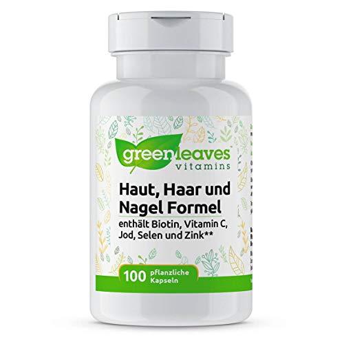 Greenleaves Vitamins - Natürlicher Haut, Haar und Nagel Formel 100 vegetarische Kapseln. Enthält Biotin, Vitamin C, Jod, Selen und Zink. Ohne Gentechnik, Gluten und Soja