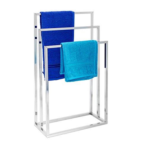 Relaxdays 10019256  Porte-serviettes sur pied avec base antidérapante 3 bras chromés en 3 hauteurs inox 82,5 x 46 x 21 cm support vêtement, gris argenté
