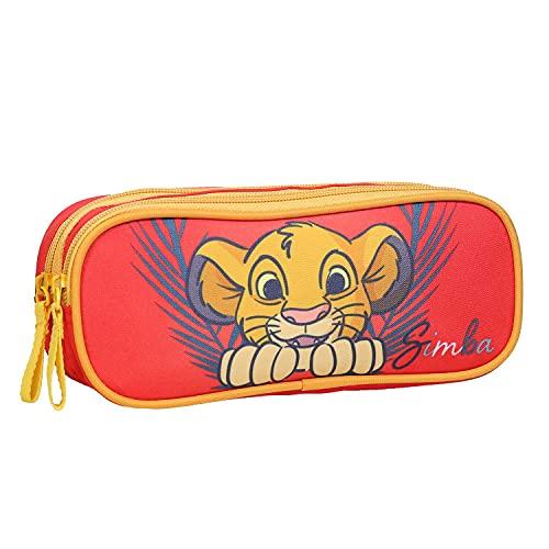 Estuche escolar con 2 compartimentos, diseño de El Rey León de Disney rojo Bagtrotter