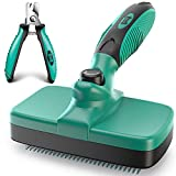 🐾 GROOMING MADE EASY 🐾 Get essential grooming tools for dogs and cats in one swoop. This set includes a slicker de-matting brush,and heavy-duty pet nail clippers. Save money by giving your furry buddy a good groom from the comfort of home. 🐾 SELF-CLE...