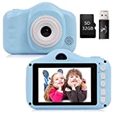 Kids Camera Seanme 3.5 Inch Digital Camera with Dual Lens HD Child Video Camcorder Rechargeable Children Selfie Camera with 32GB TF Card Card Reader