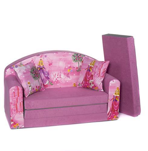 Divano divanetto bambini e cuscino e puff mini divano transformabile in lettino ((1SG) PINK PRINCESS)