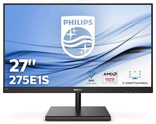 Philips 275E1S Monitor LCD E Line 27', IPS, AMD Freesync, Quad HD 2560 x 1440, 75 Hz, 4 ms, HDMI, Dispaly Port, VGA, Flicker Free, Low Blue Light, VESA, Nero