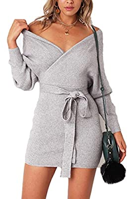 Features: Easy On/Off With Invisible Zipper At Side,Detachable Waist Belt,With V Design In Front And Back, Slim Fit Short Sleeve T Shirt Dress, Casual Mini Summer Dress For Women. Style: Big Wrap V Neck,It Can Be Dress As A Off Shoulder Dress. The Ti...