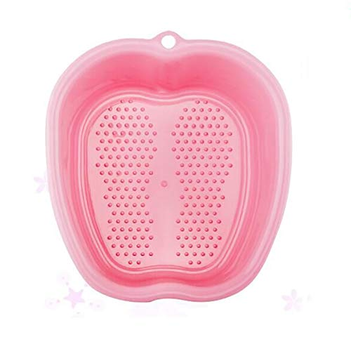 Lemoncy Large Plastic Foot Basin Foot Bath Spa Tub Foot Massage for Soaking Foot,Toe Nails, and Ankles,Pedicure,Improved Sturdy Portable Foot Tub Pink