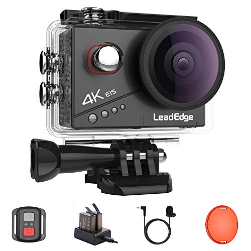 LeadEdge Action Cam 4K 20MP EIS Anti-Shaking Stabilizzazione Microfono Esterno Videocamera WiFi 2.0'' IPS 4K/30FPS 1080P/60FPS Impermeabile Camera Sportiva Subacquea DV 40M Telecomando 2x1050mAh
