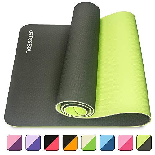arteesol Yoga Mat, 183cm x 61cm x 6mm Non-Slip Gymnastics Mat, Reißfest Umweltfreundlich Exercise Mat Fitness Mat mit Tragegurten, Premium für Pilates, Fitness, Frauen und Männer