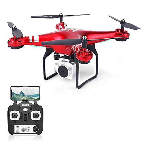 QPGVBP New 4K Camera Rotation Waterproof Professional RC Drone-Waterproof Military Drone-Amazing Super HD Aerial Photography and Long Endurance Large Drone (Red)