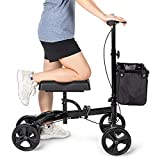 OasisSpace Steerable Knee Walker , Economy Knee Scooter for Foot Injuries Ankles Surgery (Black)