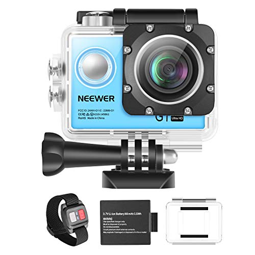 "Neewer G1 Action Cam a Definizione Ultra Alta 4K 12MP Impermeabile Fino a 30m Sotto Acqua Grandangolo a 170° con WiFi, Sensore High-Tech & 2"" Display, con Batteria & Kit Accessori (Blu)"