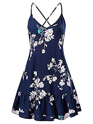 Floral:100% Rayon Woven.Hand wash or gentle machine wash,Hang dry,Cold Iron You can adjust the straps on your back arbitrarily to suit your body shape and make you more comfortable. Features: V-neck, Backless, Above knee length, Adjustable strap, A-L...
