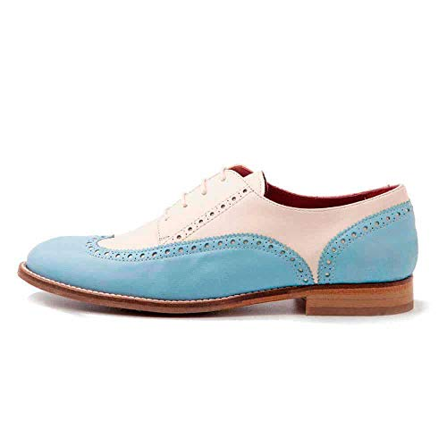 Beatnik Shoes Zapatos de Cordones Estilo Oxford Blucher Bicolores Azules y Beige de Mujer en Piel Beatnik Ethel Blue Cream. Talla 38