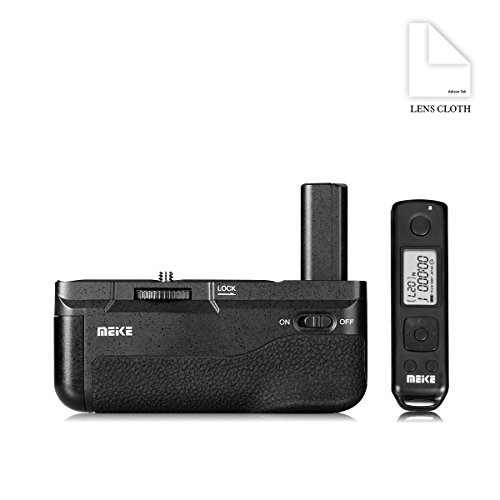 Meike 新MK A6500 Pro バッテリーグリップ ブラック縦位置撮影互換 Sony Alpha 6500 内蔵2.4Gワイヤレス リモコン付き +Adison Tek クリーニングクロス