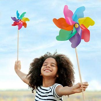Relaxdays Lot de 2 moulins à Vent XXL, Piquet Arc-en-Ciel, pour Enfants, Fleurs, Balcon, terrasse, PP, Bois, Couleurs, Multicolore