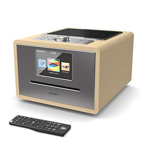 Majority Homerton Radio Internet Wi-FI - Lecteur CD, Télécommande, Dab/Dab+/FM numérique, Bluetooth, Double Alarme, Entrées AUX et USB, Contrôle des Applications (Chêne)