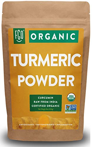 Organic Turmeric Root Powder w/Curcumin | Lab Tested for Purity | 100% Raw from India | 8oz/226g Resealable Kraft Bag | by FGO
