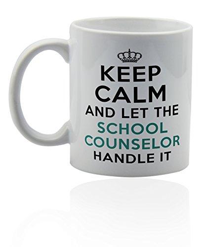 School counselor ceramic mug for coffee or tea 11 oz. Funny gag joke gift cup.