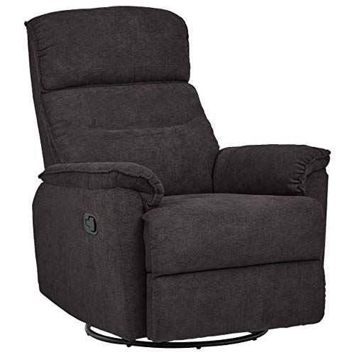 Amazon Brand – Ravenna Home Pull Recliner with 360 Rotating Swivel Glider, Living Room Chair, 39'W, Dark Grey