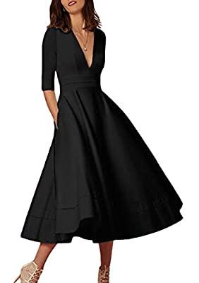 🌟Material: 35% Polyester+ 65% Spandex. The fabric is stretchy and comfortable. 🌟Features: 3/4 Sleeve, Deep V-Neck, High Waist, A-Line, Pleated, Maxi Dress, With pockets, White dress has liner. 🌟Occasion: Work, Wedding, Evening party, Nightclub, Cockt...