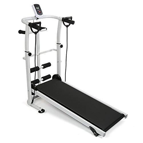 POPSPARK Tapis Roulant Meccanico, Tapis Roulant Manuale Pieghevole, Attrezzature per Il Fitness,...