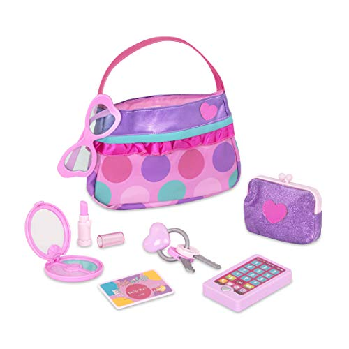 Complete purse set with stylish fashion accessories sized perfectly for small hands and bigger imaginations! Pretend makeup compact opens up with a mirror inside, the lipstick cap really comes off, and the easy-to-close Velcro-closure handbag fits every item, keeping everything neat and tidy. Includes: (1) handbag, (1) coin purse, (1) pretend cell phone, (1) pretend lipstick, (1) pretend makeup compact, (1) plastic credit card, (1) pink dress-up glasses, and (1) key ring with keys. No batteries required.