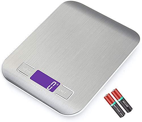 Bilancia Da Cucina JP-LED 2 Batterie Incluse Bilancia Elettronica Digitale5kg/11 lbs Bilancino Con Funzione Tara ad Alta Precisione Professionale Per Alimenti, Liquidi, Ricette