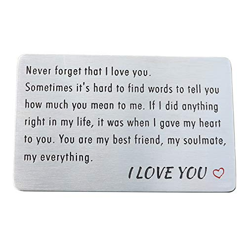 Engraved Wallet Card Insert, Stainless Steel Wallet Cards,...
