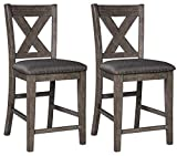 Signature Design by Ashley Caitbrook Counter Height Upholstered Bar Stool, Gray