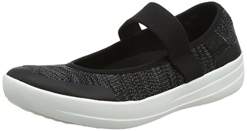 FitFlop Uberknit Mary Janes, Merceditas Mujer, Negro (Black/Soft Grey 546), 39 EU