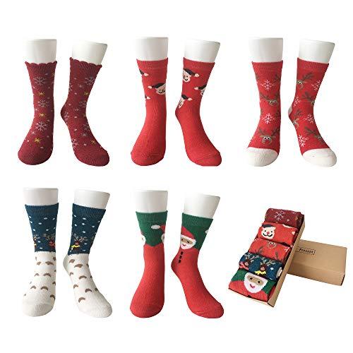 LIKERAINY Ragazze Donna Calzini Lana di Natale Caldo Inverno Confortevole Babbo Natale e Alce 5 Paia