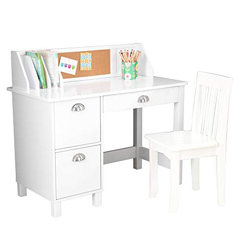 KidKraft Wooden Study Desk for Children with Chair, Bulletin Board and...
