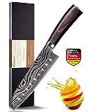 Joyspot - Cuchillo de cocina profesional, cuchillo de acero inoxidable de carbono, hoja extraafilada con mango ergonómico, mejor para la cocina del hogar, acero inoxidable madera, D8 Sankuto Messer